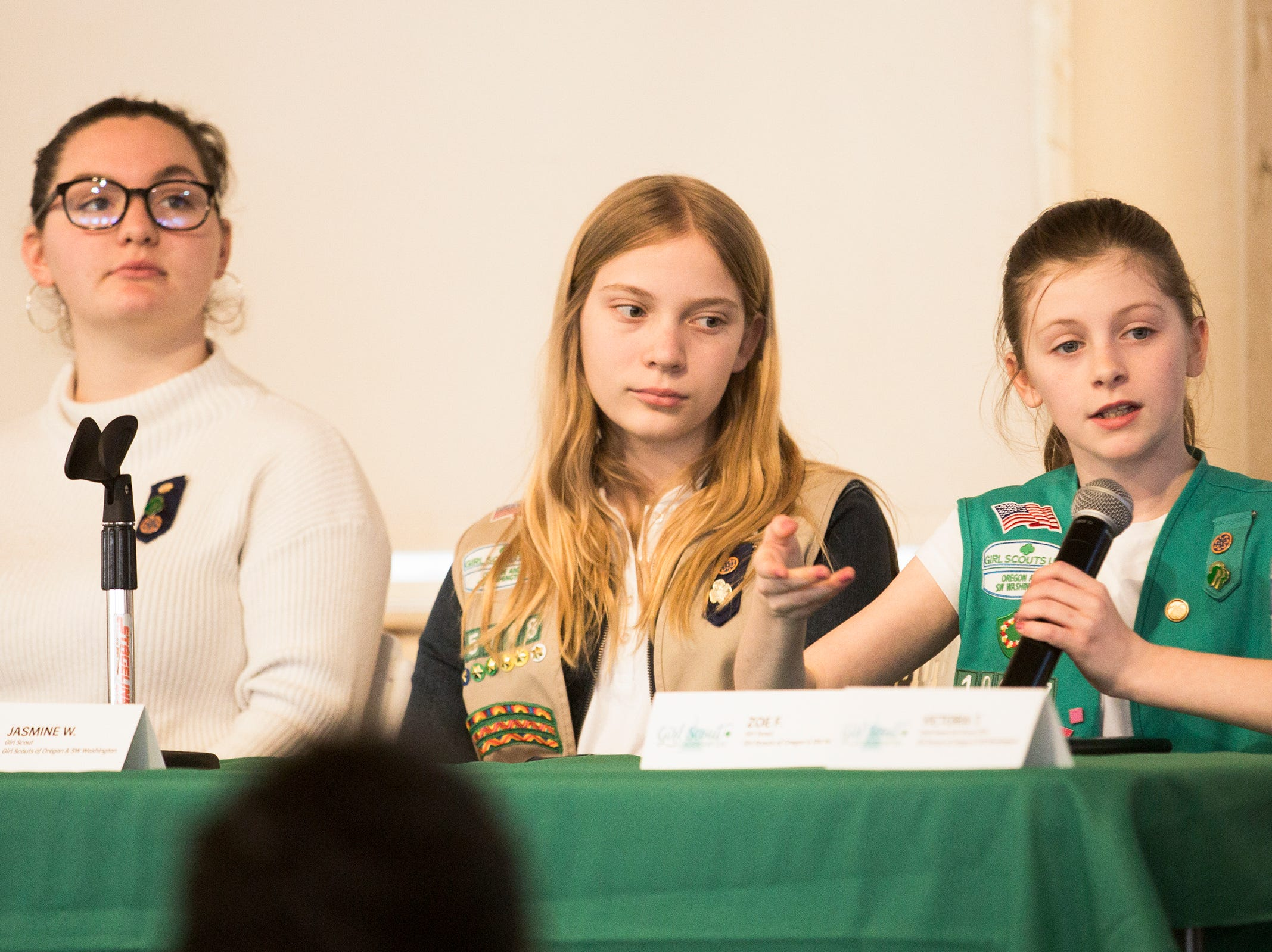 Honorary Girl Scout Zoe Farrell speaks about her role in getting the Good Samaritan law, which allows to people to break into cars to protect a child or pet, passed during Girl Scout Leadership Day at the Oregon State Capitol in Salem March 12, 2019.