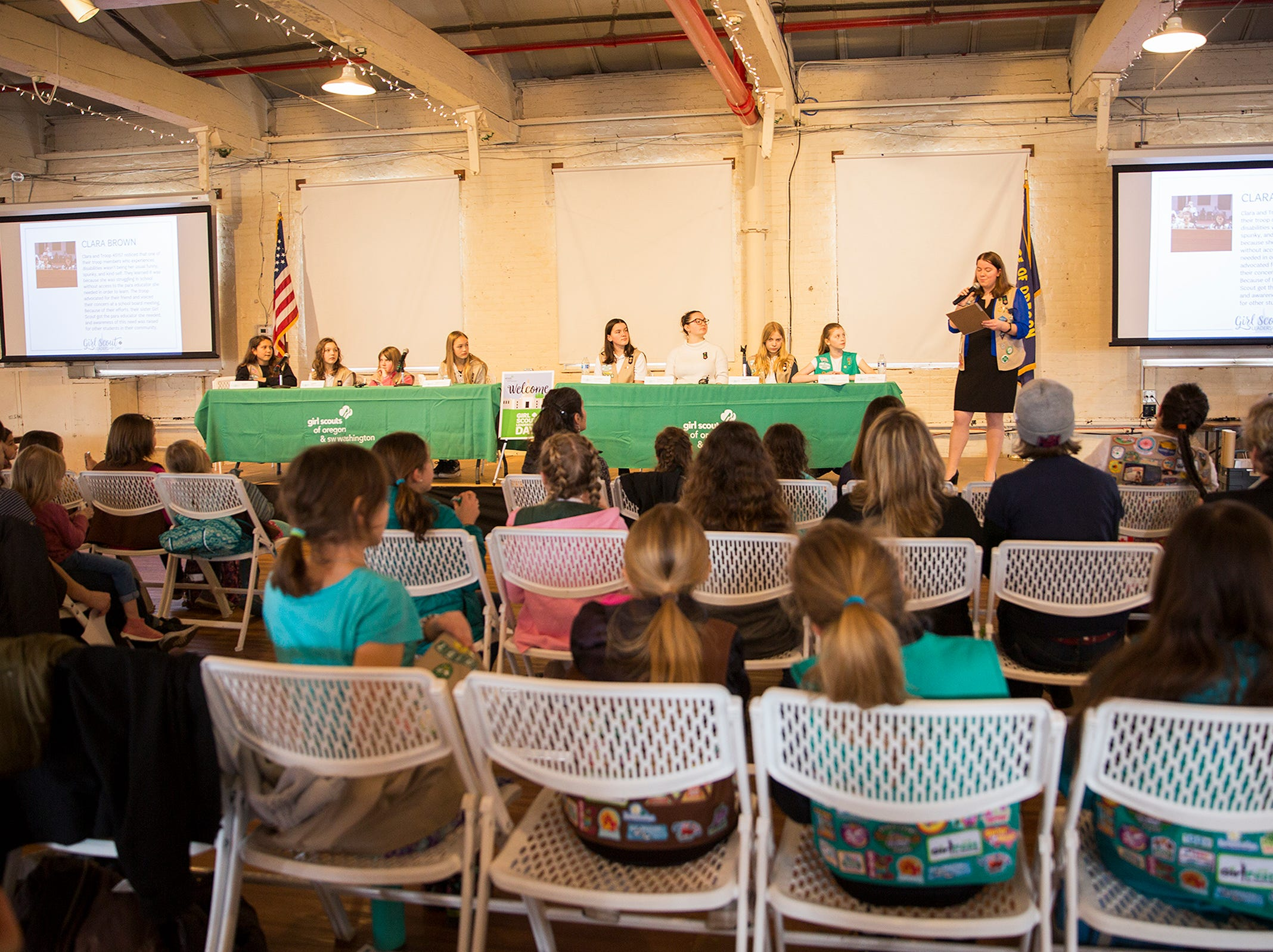 Honorary Girl Scouts speak on a Girls Who Make a Difference panel during Girl Scout Leadership Day at the Willamette Heritage Center in Salem March 12, 2019.
