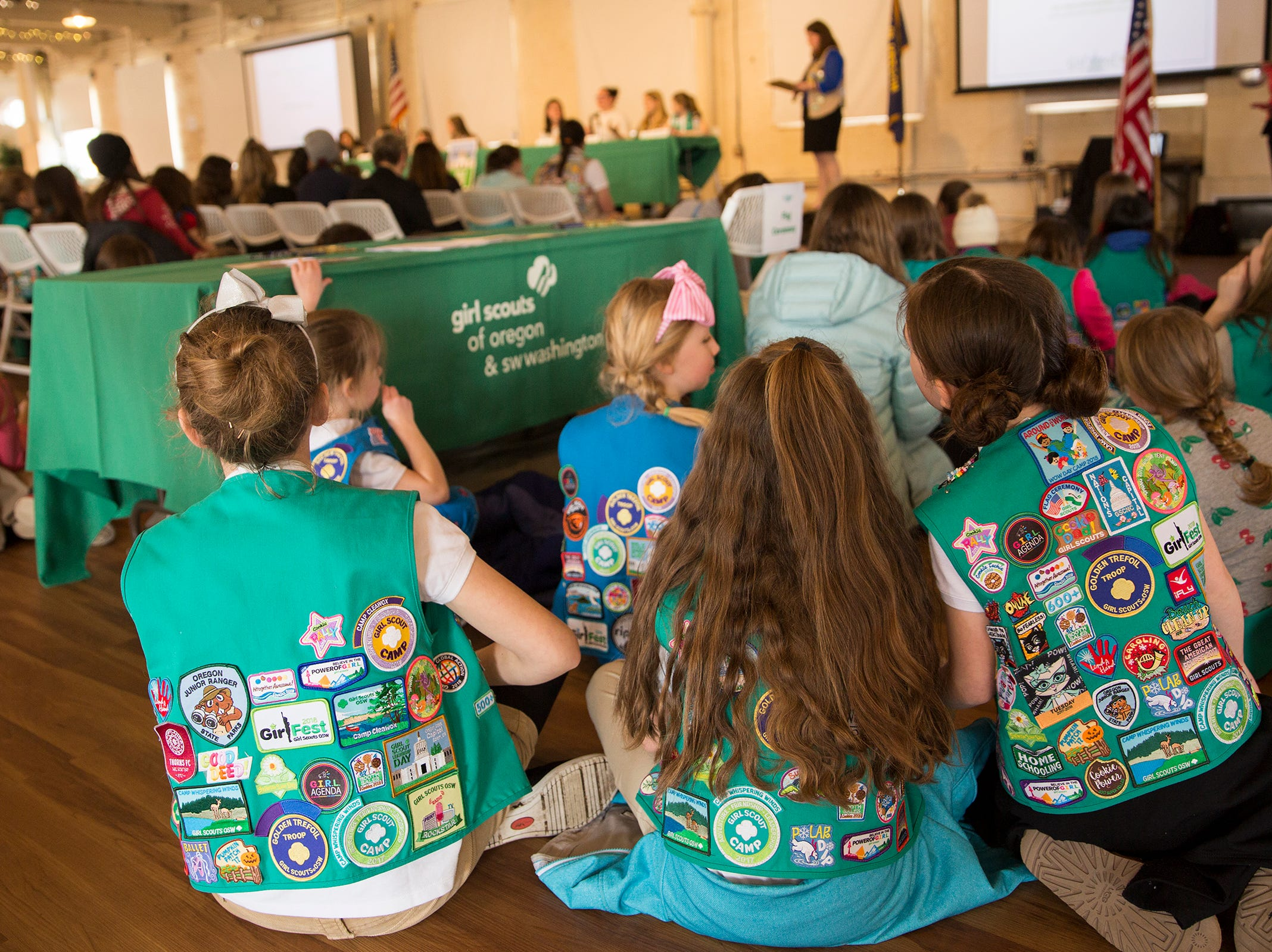 Girl Scouts from across the state listen to a a Girls Who Make a Difference panel during Girl Scout Leadership Day at the Willamette Heritage Center in Salem March 12, 2019.