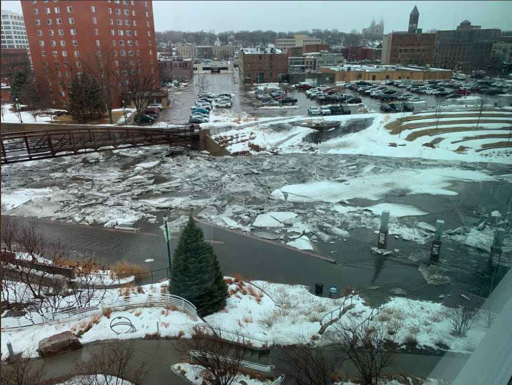 Big Sioux River flooding in downtown Sioux Falls March 13.