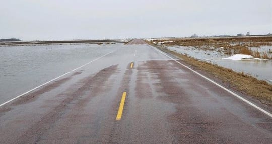 Flooding on 288th Street east of Interstate 29 in Lincoln County on March 13, 2019.