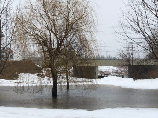 Skunk Creek floods Dunham Park in western Sioux Falls Wednesday. Sioux Falls and most of southeastern South Dakota is in a flood warning through Wednesday night.