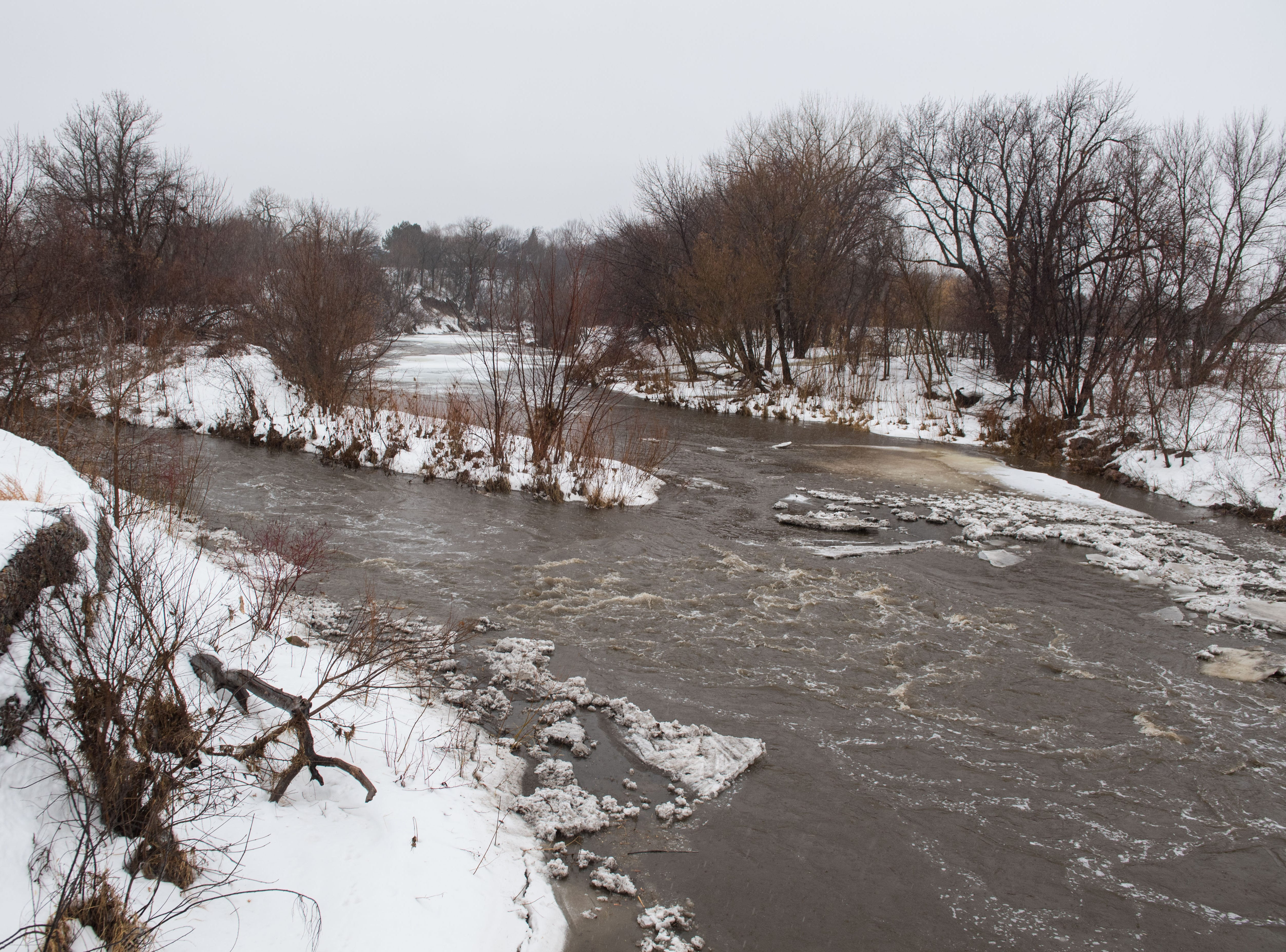 Skunk Creek at Dunham Park in Sioux Falls, S.D. is shown Wednesday, March 13, 2019.