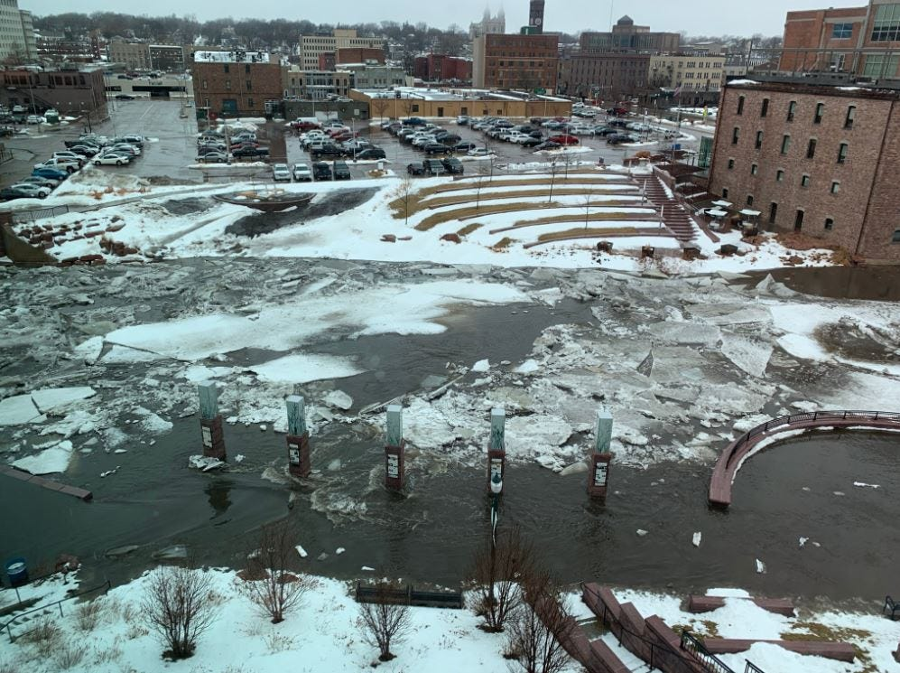 Ice jam is causing flooding on the Big Sioux River in Sioux Falls.