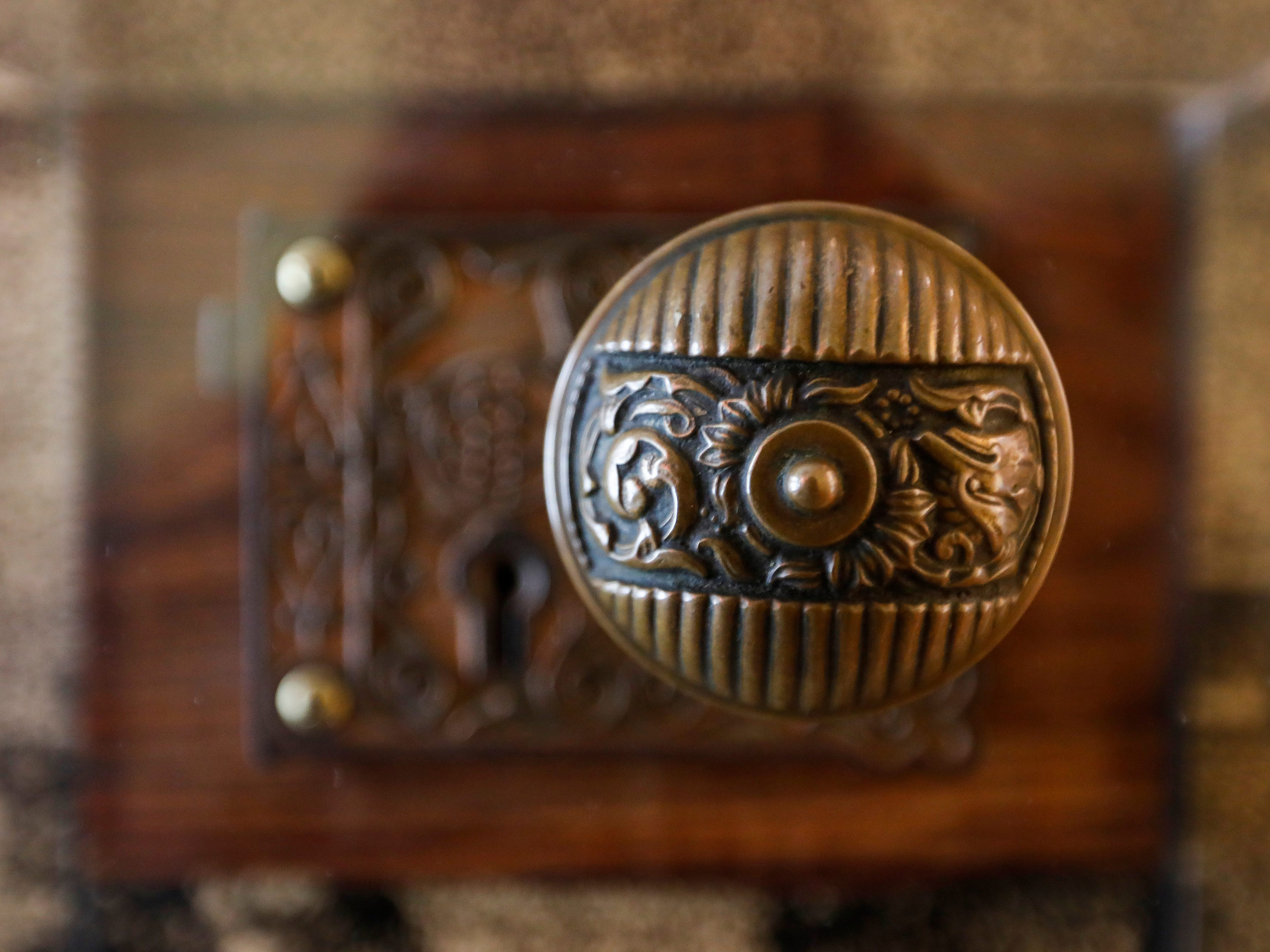 The original door handle from the old courthouse on the square is one of the many historical items on display at the History Museum on the Square's expanded location.