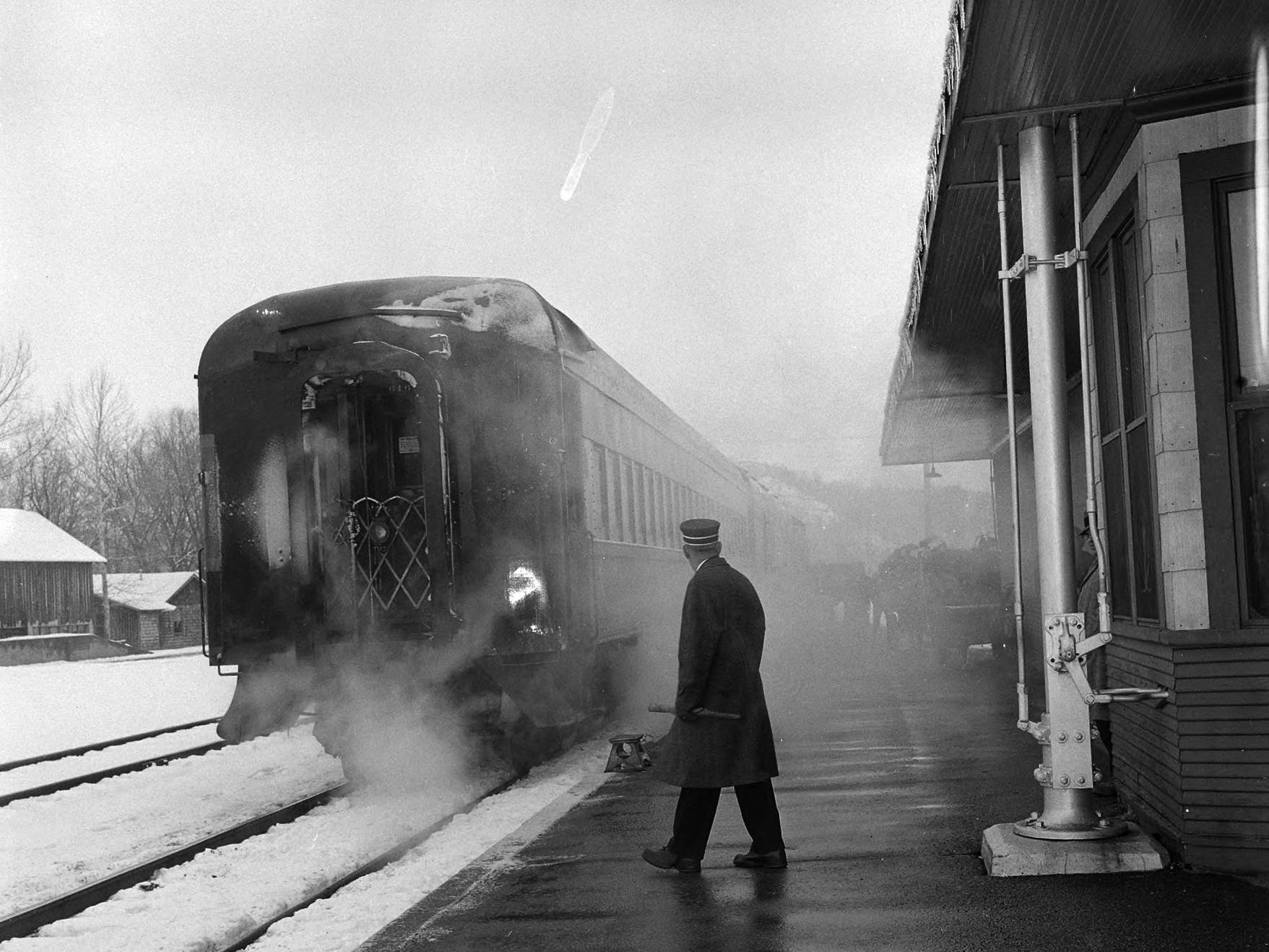 After more than half a century of service, the passenger trains of the Missouri Pacific Railroad on the White River Division closed in March of 1960. A man is pictured on the platform. Published in the News & Leader on March 20, 1960.