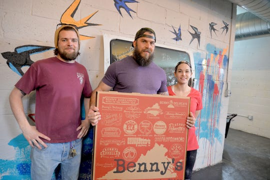 Benny Stivale's, a new Benny's Pizza restaurant, will open on Waynesboro's Main Street in its downtown. The pizza restaurant, which has 19 different locations owned by several partners, serves up 28-inch pizzas and pizza by the slice. From left to right: Co-manager Lucas Bergmann, co-owner Jon Durham and co-manager Harmony Proffitt.