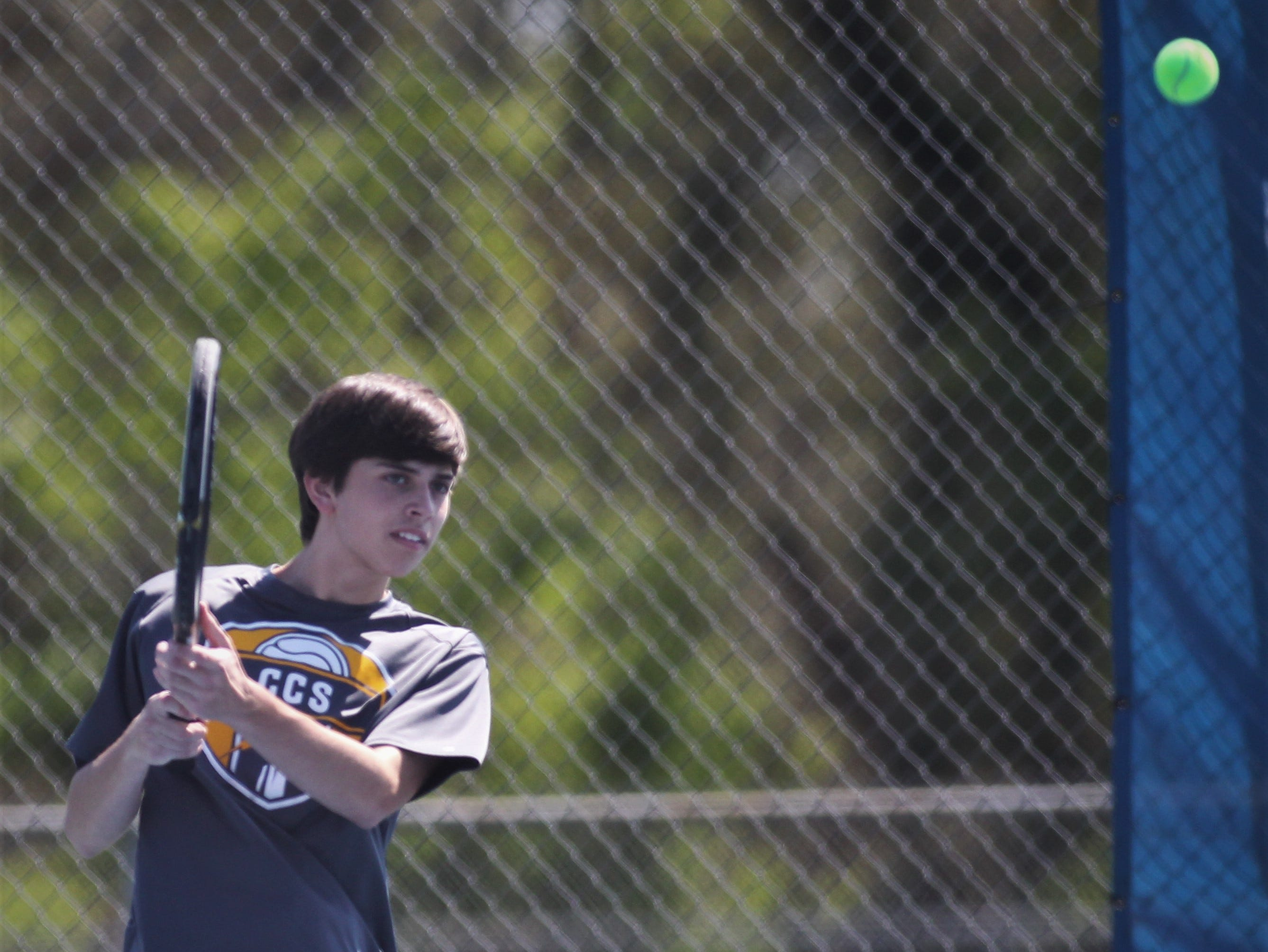 Community Christian plays in the boys and girls tennis 2019 City Tournament at Tom Brown Park on March 12, 2019.