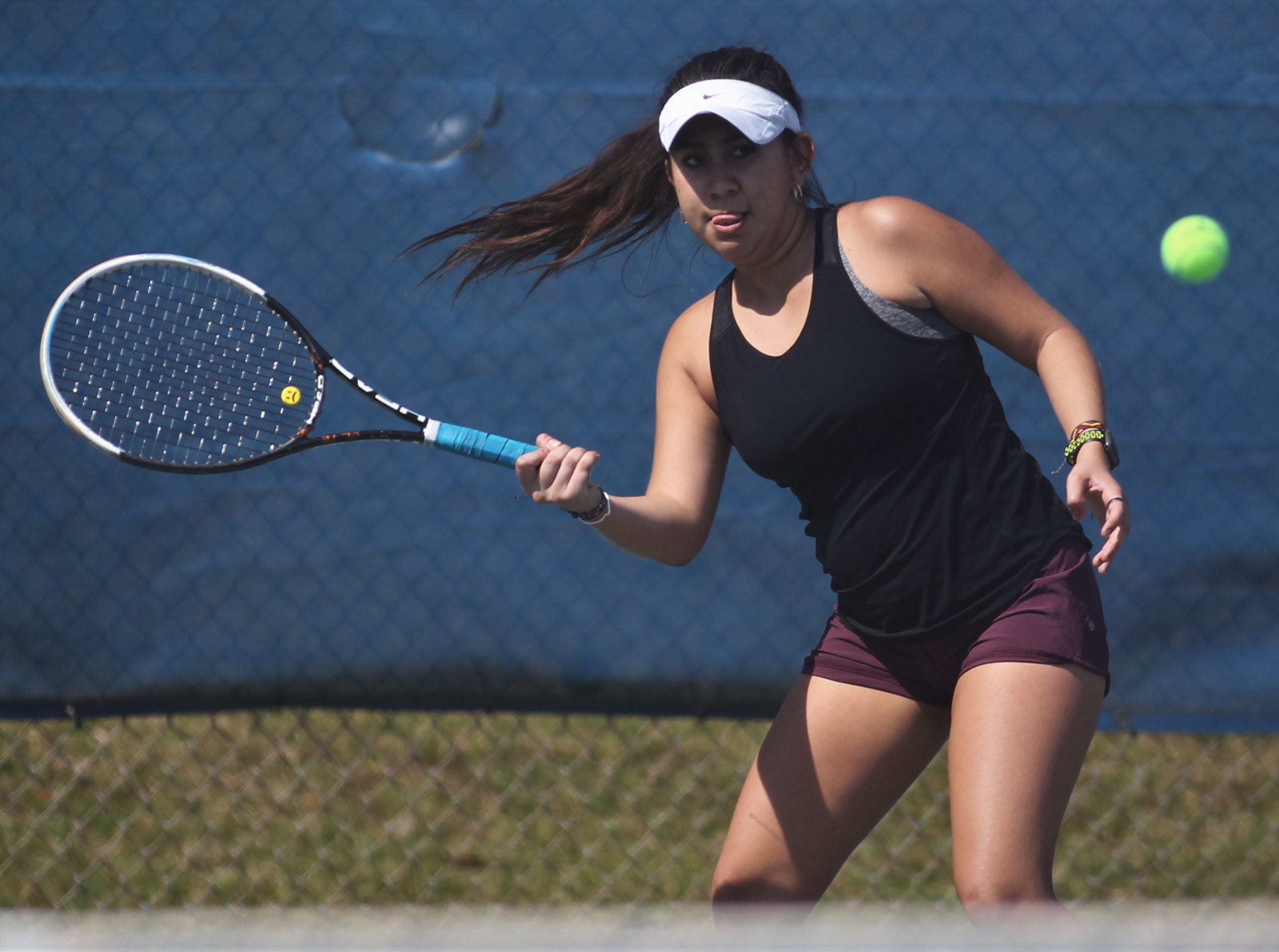 Chiles junior Sofia Guerrero plays during the boys and girls tennis 2019 City Tournament at Tom Brown Park on March 12, 2019.