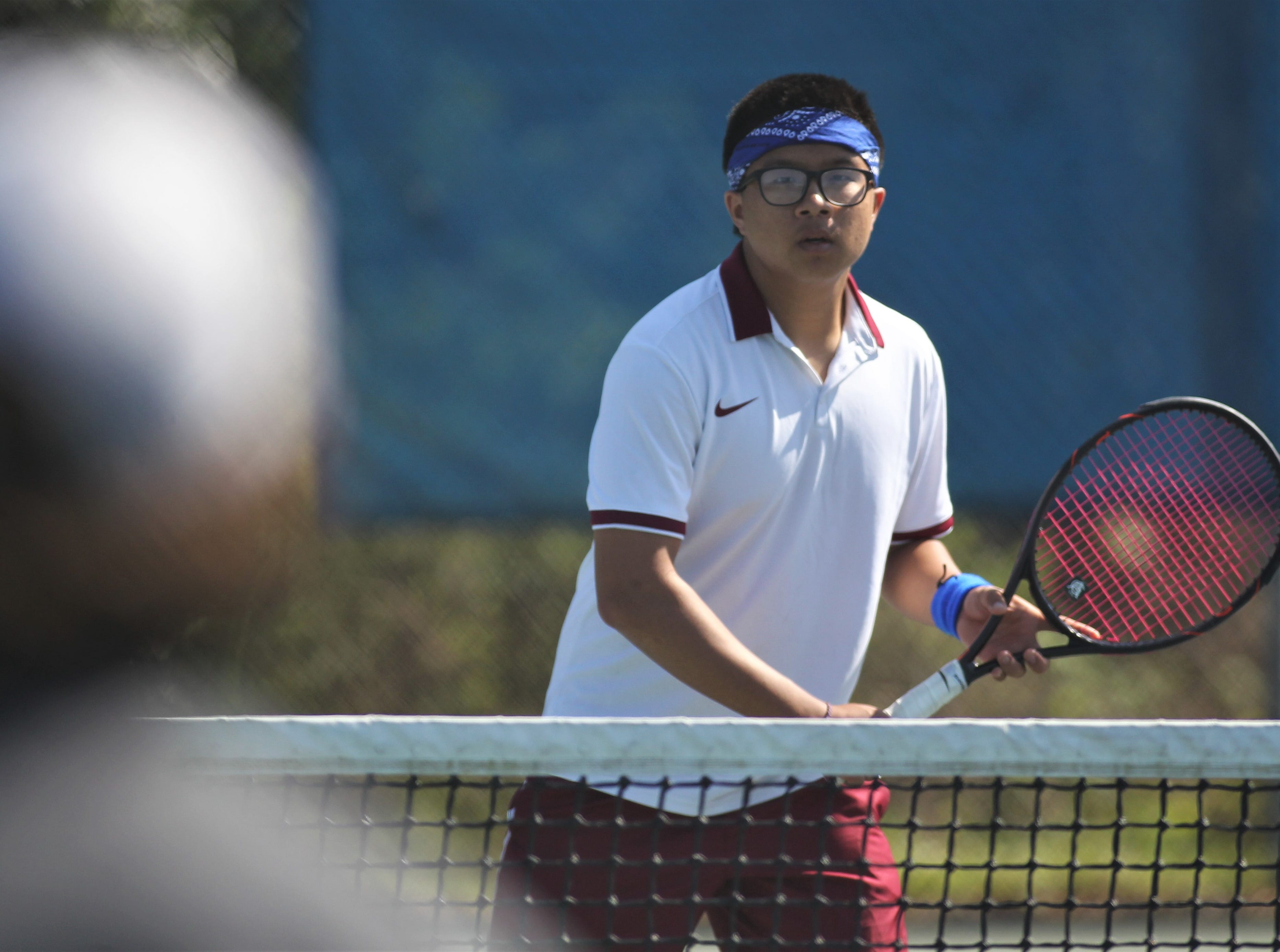 Chiles plays during the boys and girls tennis 2019 City Tournament at Tom Brown Park on March 12, 2019.