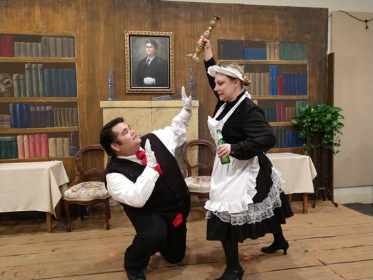 "Lyndsey Woods as Mrs. White seems to have a choice of weapons in ""Clue: the Musical."""