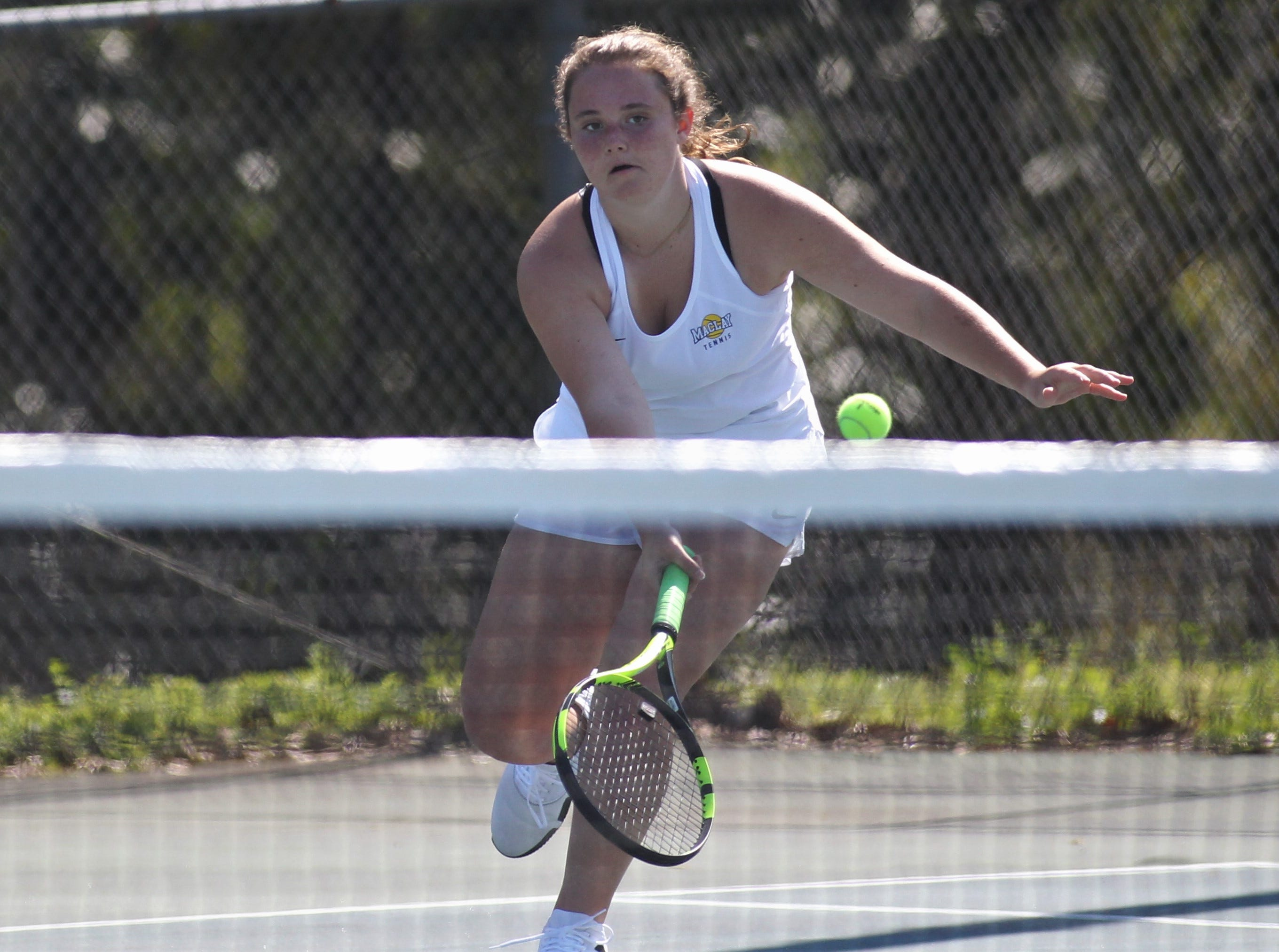 Maclay plays during the boys and girls tennis 2019 City Tournament at Tom Brown Park on March 12, 2019.