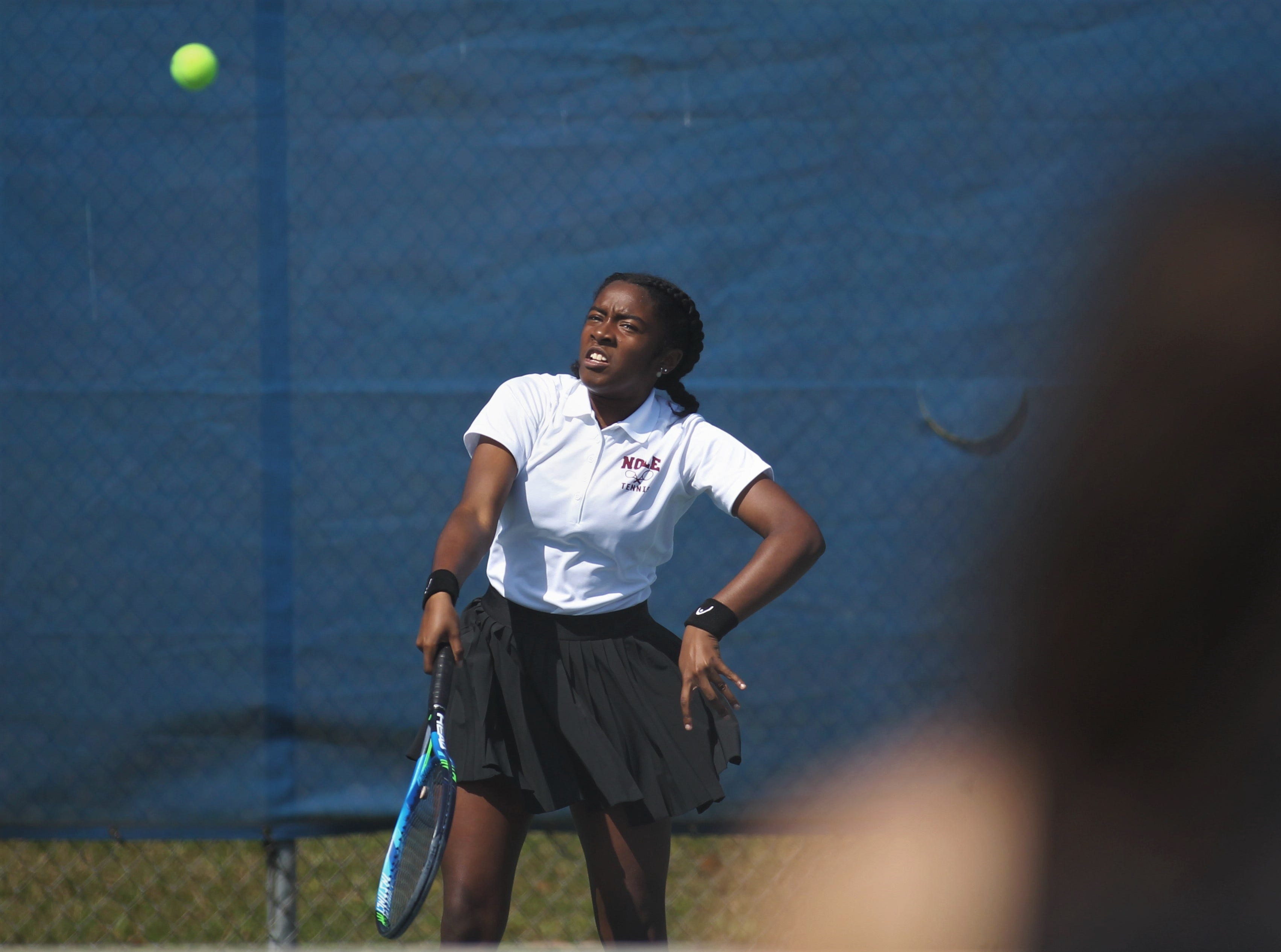 Florida High's Narissa Benjamin plays during the boys and girls tennis 2019 City Tournament at Tom Brown Park on March 12, 2019.