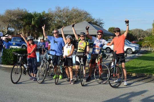 Judy Hsu, left, Chip Waterman, Nina Yon, Margaret Turner, David Stephens and Jeff Chandler at the inaugural United Against Poverty A1A Centennial Challenge cycling tour.