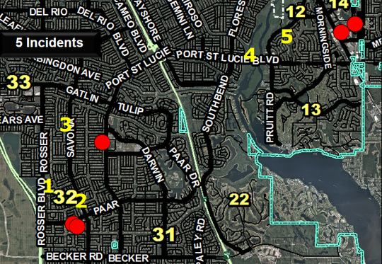 Port St. Lucie police are looking for the person who shot out several car windows at these locations, marked with red dots, between Monday night, March 11, and Tuesday morning, March 12, 2019.