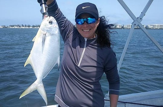 Pompano have been running with the incoming tide in the Indian River Lagoon and are being caught on shrimp-tipped jigs.