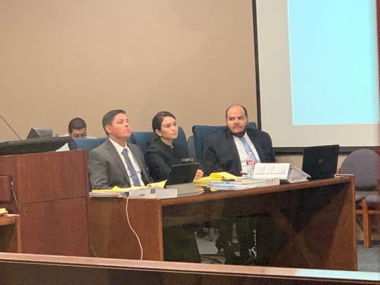 Leonel Hernandez, left, sits with his lawyers Wednesday, March 13, 2019, during his trial in the 168th District Court with Judge Marcos Lizarraga presiding.  Hernandez is charged with one count of murder in the death of former El Paso DJ Richard Madrigal.