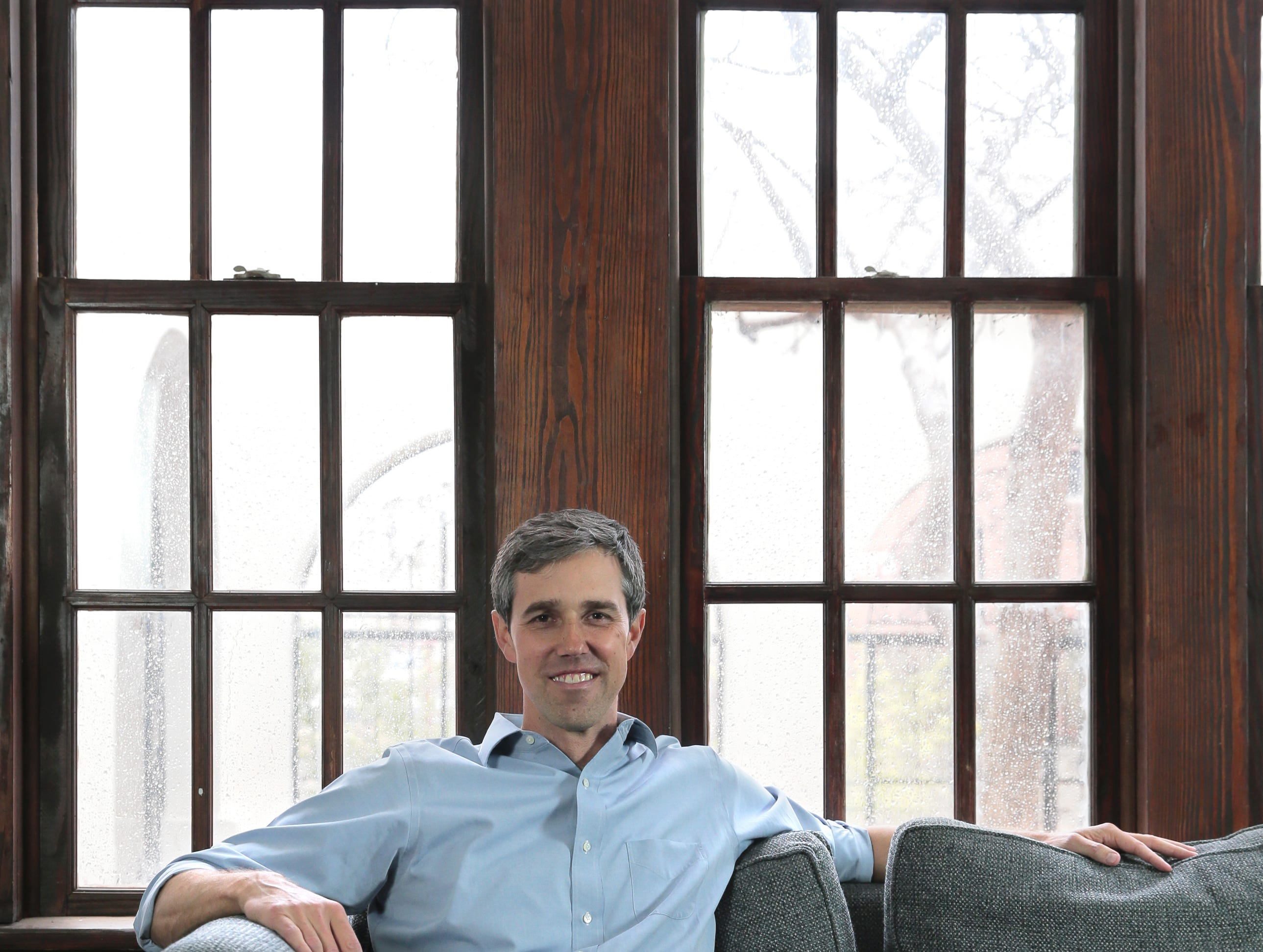 El Pasoan Beto O'Rourke sits in the living room of his Sunset Heights home.