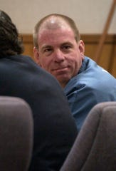 Michael Schultz turns to face the audience during his sentencing hearing on March 26, 2003, in Ventura County Superior Court. Schultz was convicted of killing a Port Hueneme woman in 1993. He was sentenced to death.