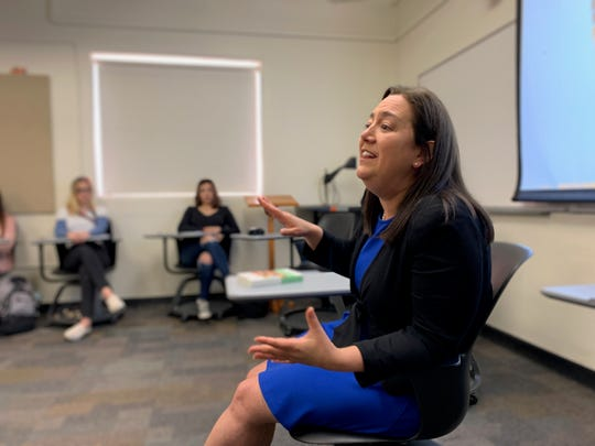 Erin Gruwell, the Long Beach teacher who taught the original Freedom Writers on whom the 2007 feature film of the same name is based, speaks to an English class at CSU Channel Islands earlier this month. Students also previewed an upcoming documentary about the real people behind a story that became a book, a movie and a podcast.
