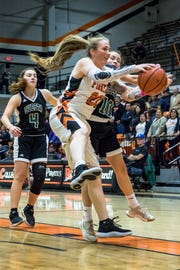 Freshman forward Robin Prince grabs a rebound during the Ventura College women's basketball team's 57-39 win over visiting Cuesta on Jan. 30.