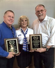 Arleen Hickman (center), Exalted Ruler, Millville Elks Lodge No. 580, presented awards to Jeff Trout (left) and J. Timothy Shannon during the 71st annual Millville Elks Lodge Sports Frolic.