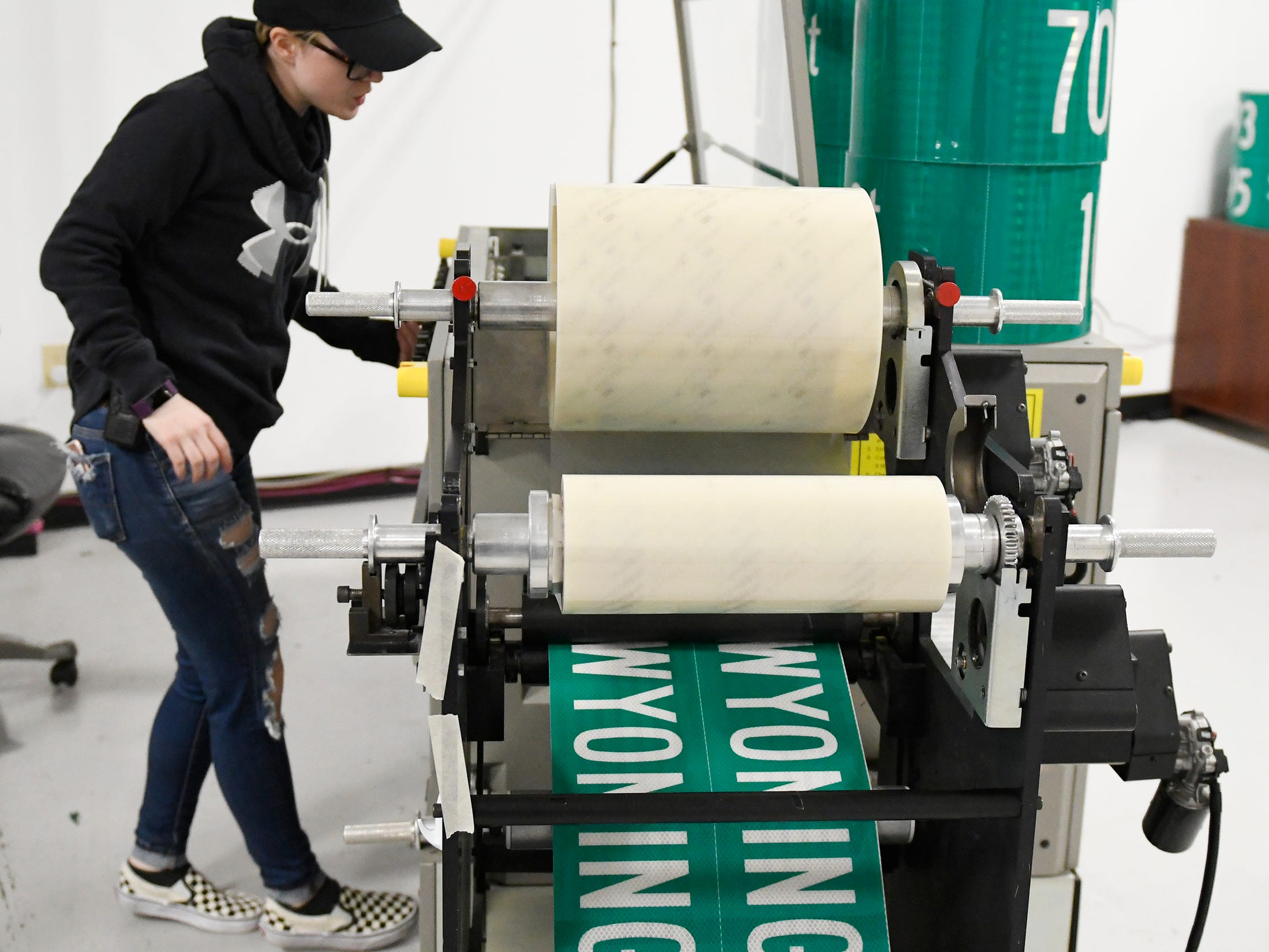 A Garden State Highway Products, Inc. employee operates one of the production machines at the 140,000 square foot facility in Millville on Tuesday, Mar. 12, 2019.
