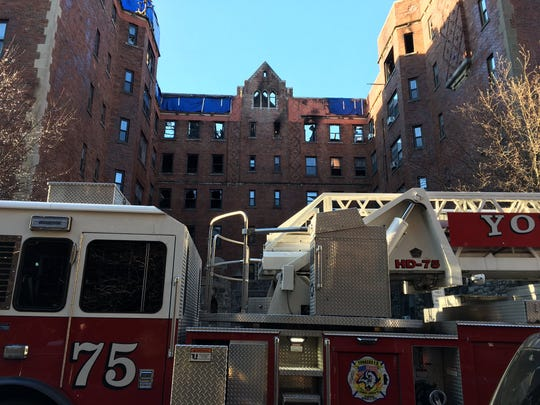 The roof and sixth floor of 15 Parkview Ave. in Yonkers were destroyed in a stubborn blaze that firefighters battled for several hours, as seen on March 13, 2019.