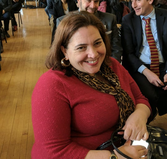 Westchester County Legislator Catherine Borgia was among the officials on hand at a tax cap event in Peekskill featuring Gov. Andrew Cuomo, Wednesday, March 13, 2019. The event was held at the union hall of UA Local 21 Plumbers and Steamfitters.   Borgia said she was 'keeping an open mind' on the governor's tax policy.