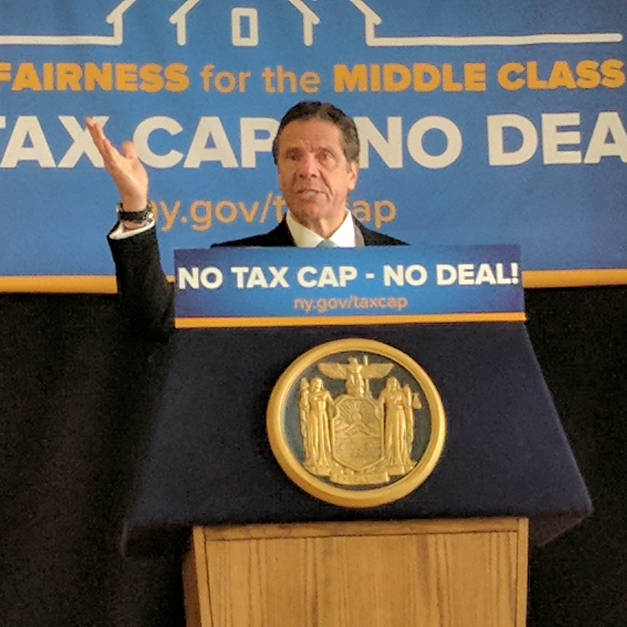 Gov. Andrew Cuomo speaks in Peekskill Wednesday, March 13, 2019. In an event before 125 people, the governor pushed for making the 2 percent property-tax cap permanent. He spoke in the union hall of UA Local 21 Plumbers and Steamfitters.