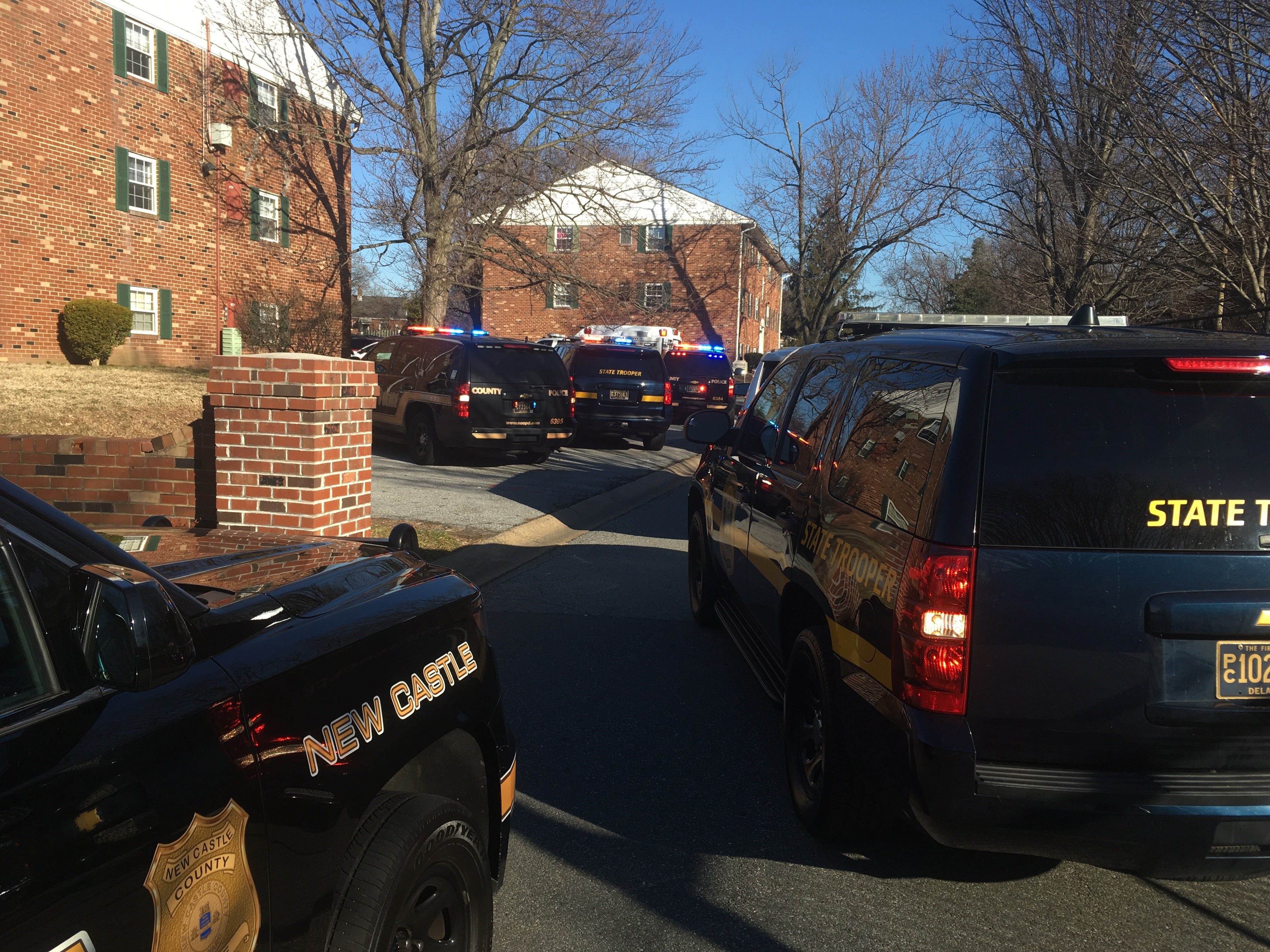 New Castle County Police are at the Stonehurst Garden Apartments conducting an investigation.