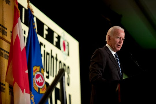 Former Vice President Joe Biden speaks at the International Association of Firefighters at the Hyatt Regency on Capitol Hill in Washington, Tuesday, March 12, 2019, amid growing expectations he'll soon announce he's running for president.