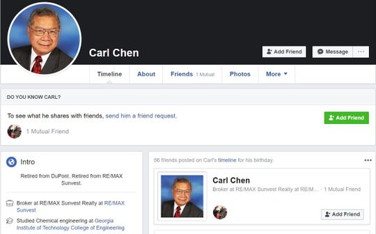 Carl Chen's Facebook page