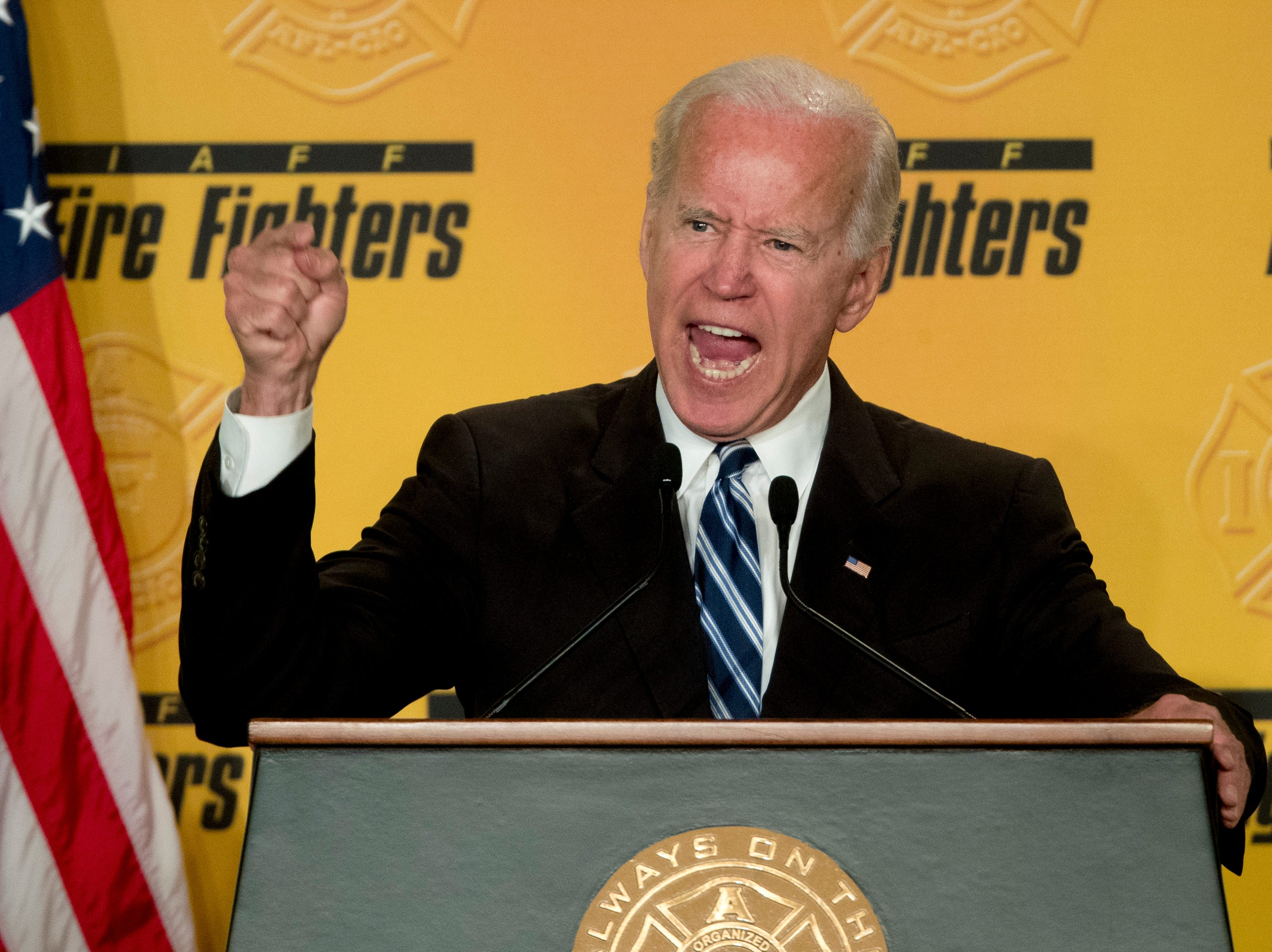 Former Vice President Joe Biden speaks to the International Association of Firefighters at the Hyatt Regency on Capitol Hill in Washington, Tuesday, March 12, 2019, amid growing expectations he'll soon announce he's running for president.