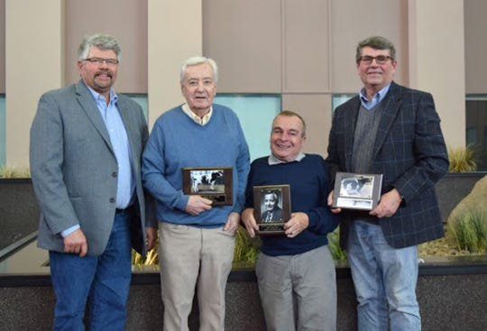 Wall of Fame honorees from left, Bob Sabo, David Bachmann, Norman Nabholz and Elmo Wendorf.