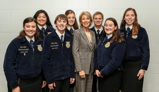 Amelia Hayden (far right)  was among seven FFA members invited to a round table discussion with Betsy DeVos, the Secretary of the United States Department of Education, during the National FFA Convention.
