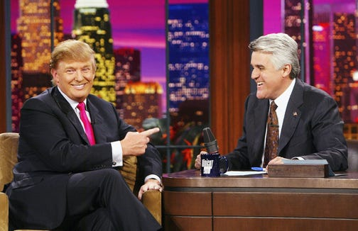 """Donald Trump appears on """"The Tonight Show with Jay Leno"""" at the NBC Studios, on Sept. 7, 2004 in Burbank, California."""