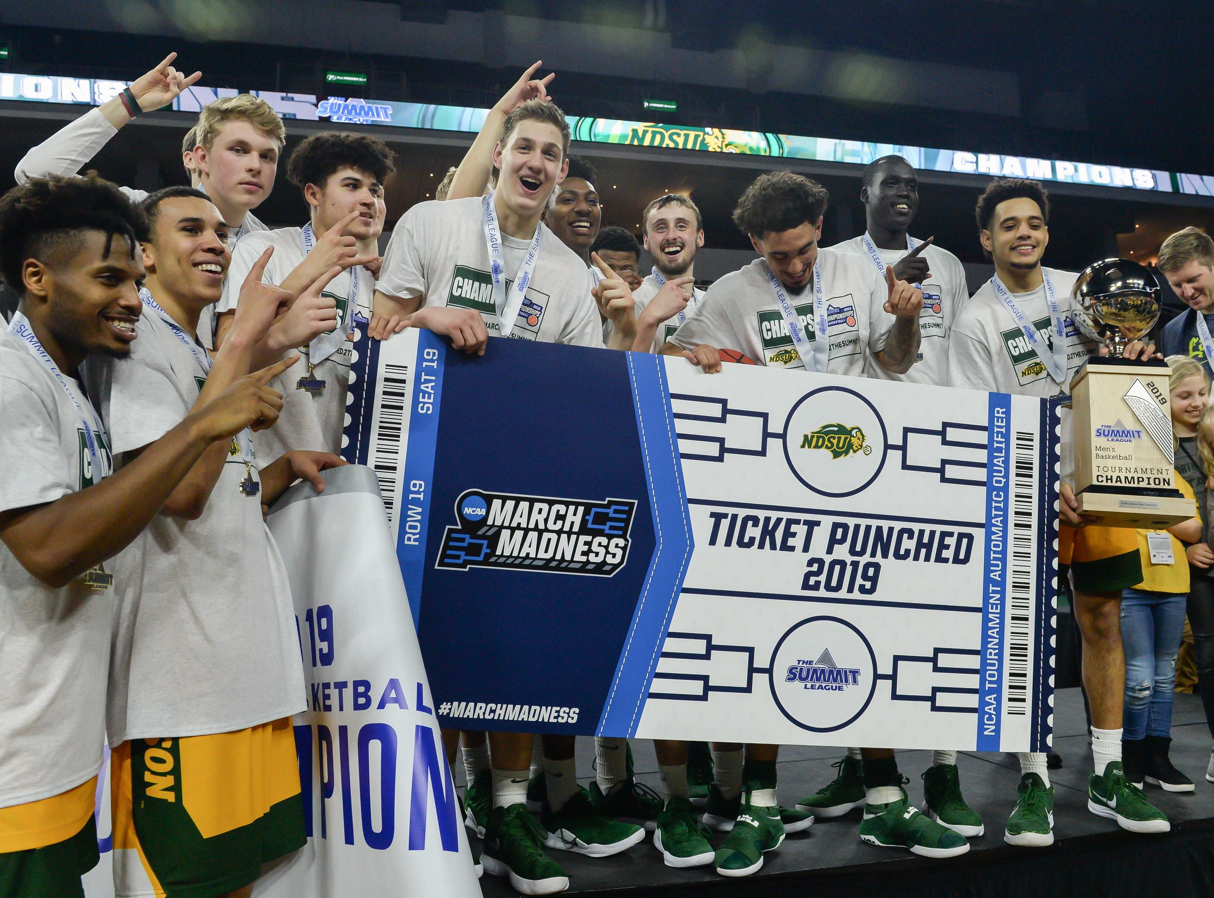 North Dakota State (18-15), No. 16 seed - First Four game - in East, Summit League champion