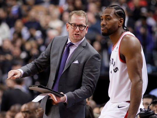 Toronto Raptors head coach Nick Nurse and Kawhi Leonard.