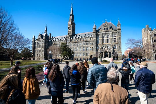 Prospective students and parents at Georgetown University in Washington, D.C., on March 12, 2019.