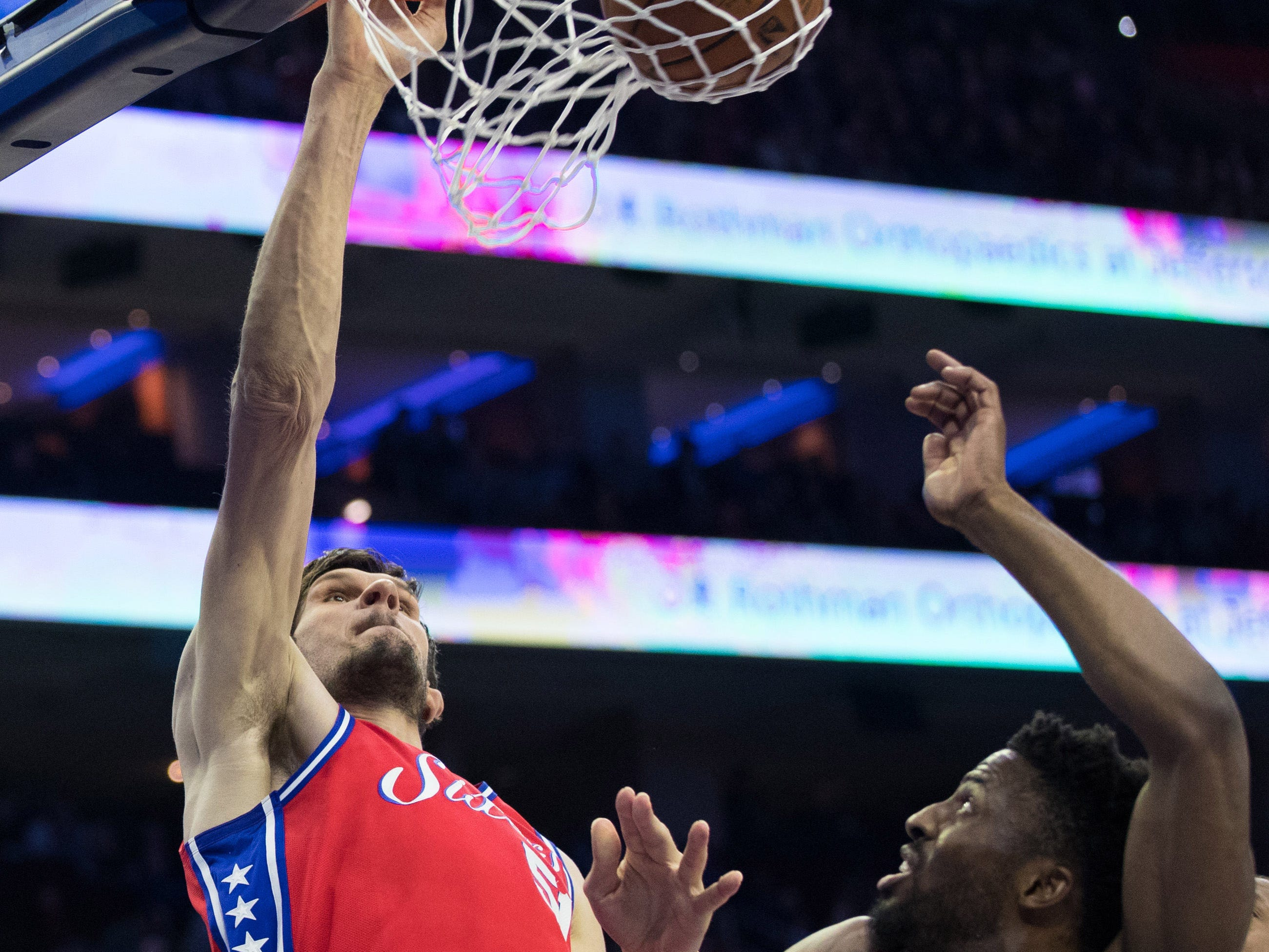 March 12:Philadelphia 76ers center Boban Marjanovic dunks the ball against the Cleveland Cavaliers during the first quarter at Wells Fargo Center.