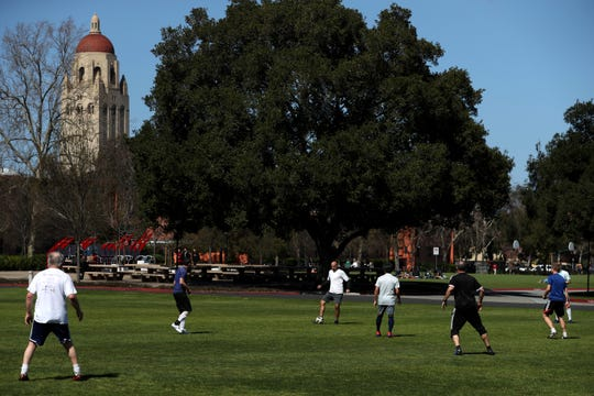 Soccer players at Stanford University in Stanford, Calif., on March 12, 2019.