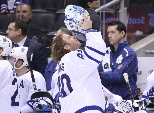 Toronto Maple Leafs goalie Garret Sparks comes into the game during a 6-2 loss to the Tampa Bay Lightning.