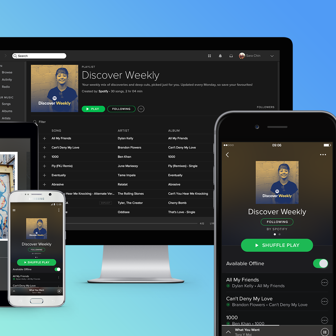 Music subscription streaming service Spotify shown on a variety of devices.
