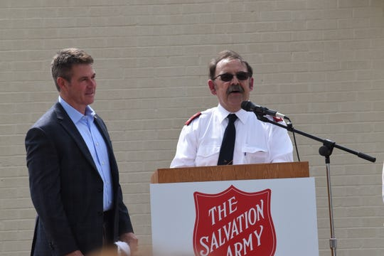 Salvation Army Maj. Glenn Riggs (right) introduces Roy O. Martin III (left) who is on the Salvation Army Advisory Board to speak at the site where a new 25,000 square foot facility will be built at the corner of 13th and Murray Streets. The Martin family is donating two-thirds of the money needed to build the new facility.