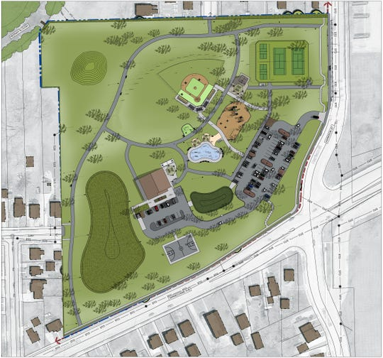 The master plan for Washington Park in Neenah shows tennis and pickleball courts, a ball diamond, playground, splash pad, basketball court, ice rink and sled hill.