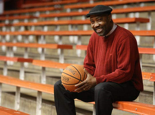 LaMont Weaver sits in the stands at the UW Field House in Madison in 2009 as he recalled the famous 55-foot shot he hit against Neenah in the 1969 WIAA boys state basketball championship game.
