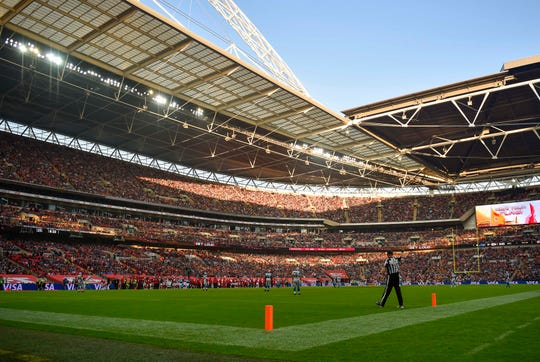 General view of the field during the second half of the game between the Detroit Lions and the Kansas City Chiefs at Wembley Stadium.