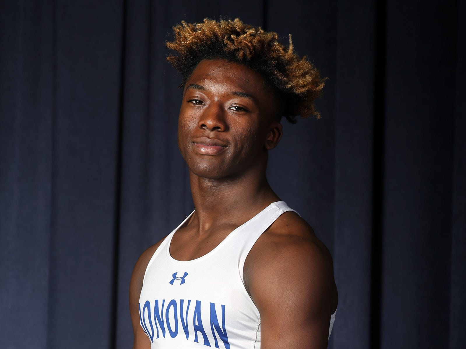 James Bivins of Donovan Catholic during the All-Shore boys track team photo shoot at the Asbury Park Press in Neptune, NJ Thursday, March 14, 2019.