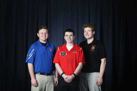 Thomas McKeon of Keansburg High School, Joe Ocello of Neptune High School and David MacGillivray of Barnegat High School during the All-Shore boys bowling team photo shoot at the Asbury Park Press in Neptune, NJ Thursday, March 14, 2019.  (not pictured) Brandon Bohn of Jackson Liberty, Brian Garafano of Howell High School and John Boughton of Brick Memorial.